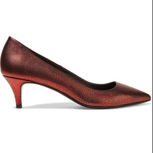 Maje Red Metallic Cracked-Leather Heels